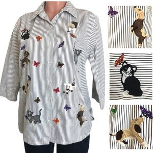 Bechamel Dog cat Patch Embroidered Button Down Top